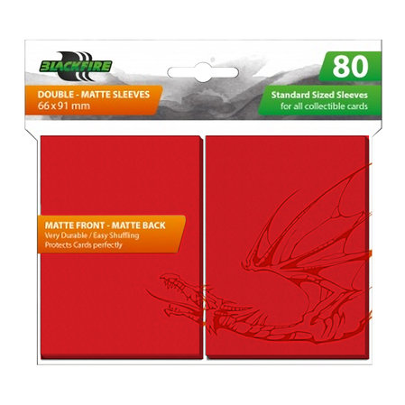 Blackfire Sleeves - Standard Double-Matte Red (80 Sleeves)