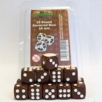 Blackfire Dice - 16mm D6 Dice Set - Brown (15 Dice)