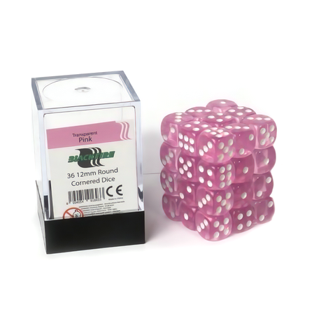 Blackfire Dice Cube - 12mm D6 36 Dice Set - Transparent Pink