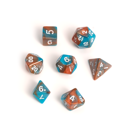 Blackfire Dice - Fairy Dice RPG Set - BiColor Orange Blue (7 Dice)