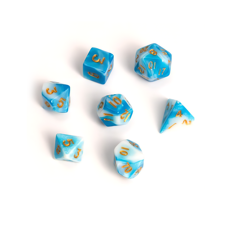 Blackfire Dice - Fairy Dice RPG Set - BiColor Blue White (7 Dice)