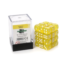 Blackfire Dice Cube - 12mm D6 36 Dice Set - Transparent Yellow