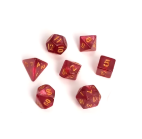 Blackfire Dice - Fairy Dice RPG Set - Marbled Red (7 Dice)